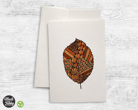 Zentangle Leaf Orange - Greeting Cards