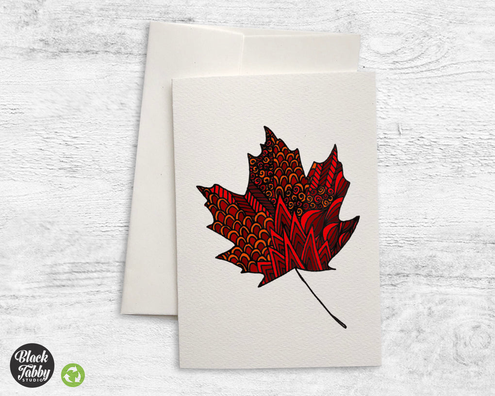 Zentangle Leaf Red - Greeting Cards