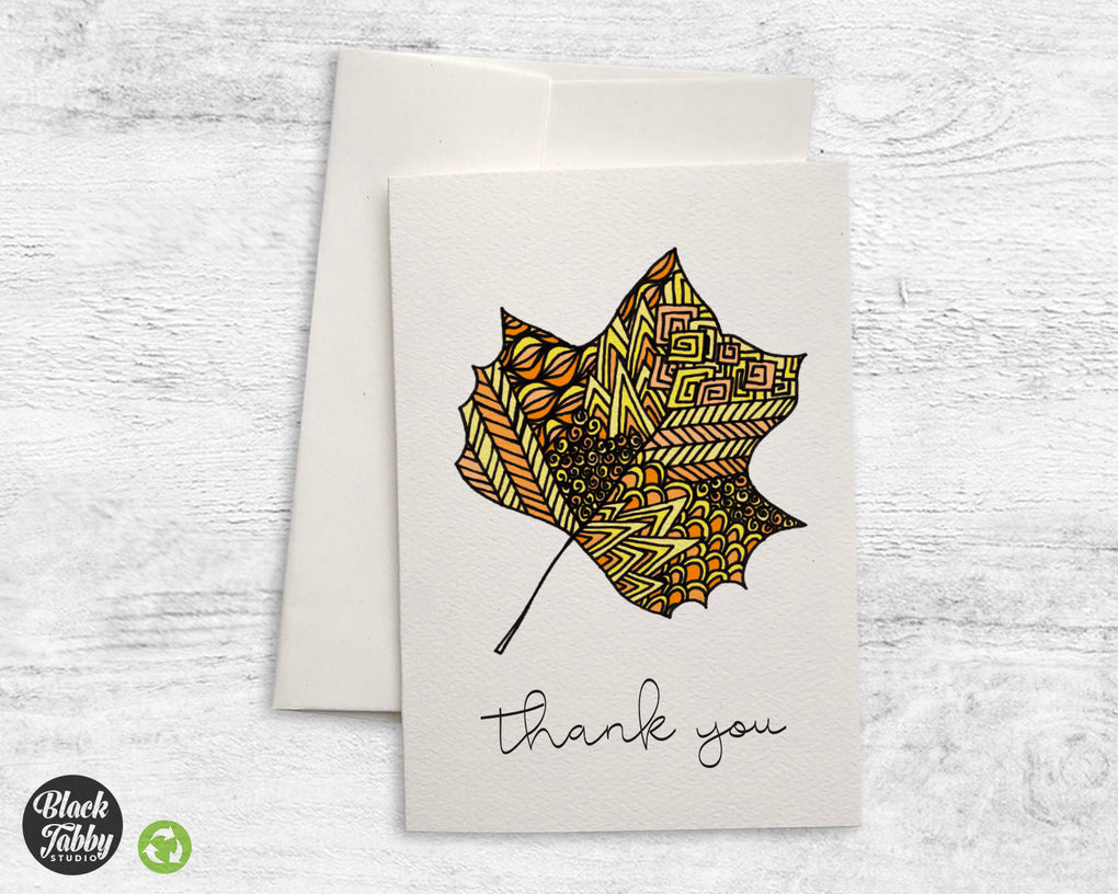 Zentangle Yellow Fall Leaves - CLEARANCE - Thank You Cards