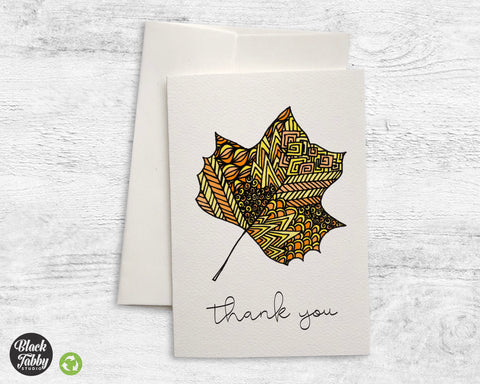 Zentangle Leaf Yellow - Thank You Cards