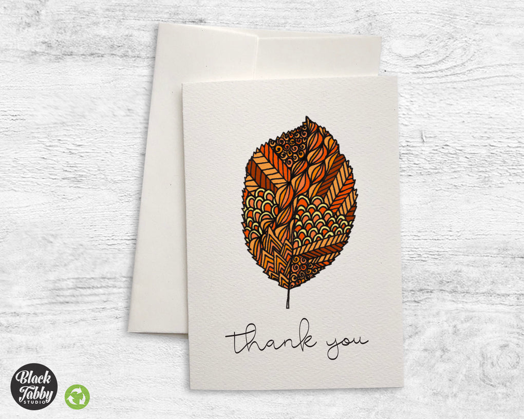 Zentangle Orange Fall Leaves - CLEARANCE - Thank You Cards