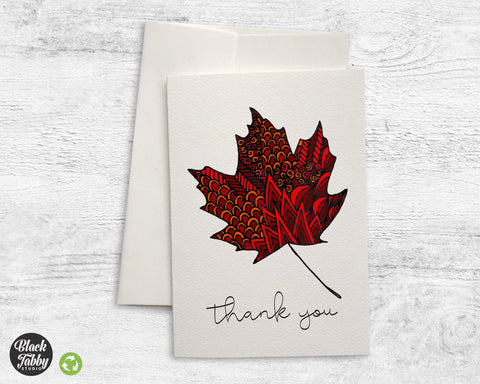 Zentangle Leaf Red - Thank You Cards
