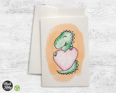Happy T-Rex with a Heart - Greeting Cards