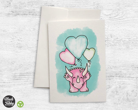 Happy Triceratops with Heart Balloons - Greeting Cards