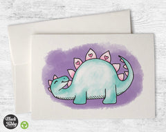 Happy Stegosaurus with Hearts - Greeting Cards