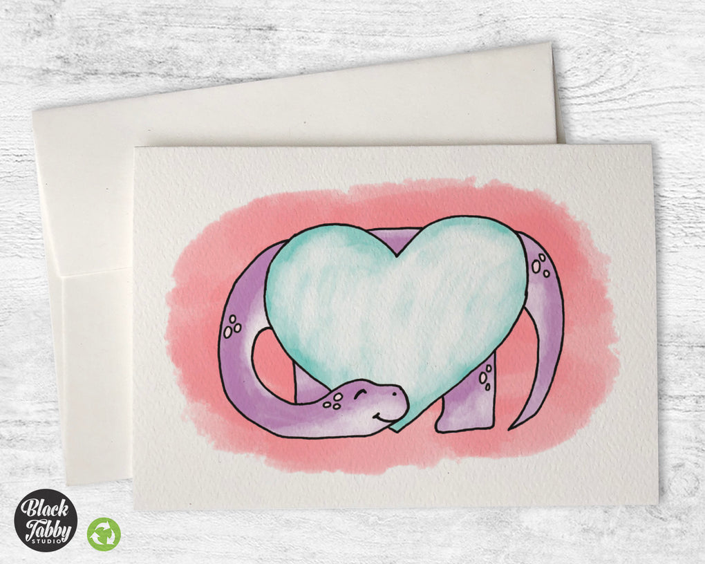 Happy Brachiosaurus with a Heart - Greeting Cards