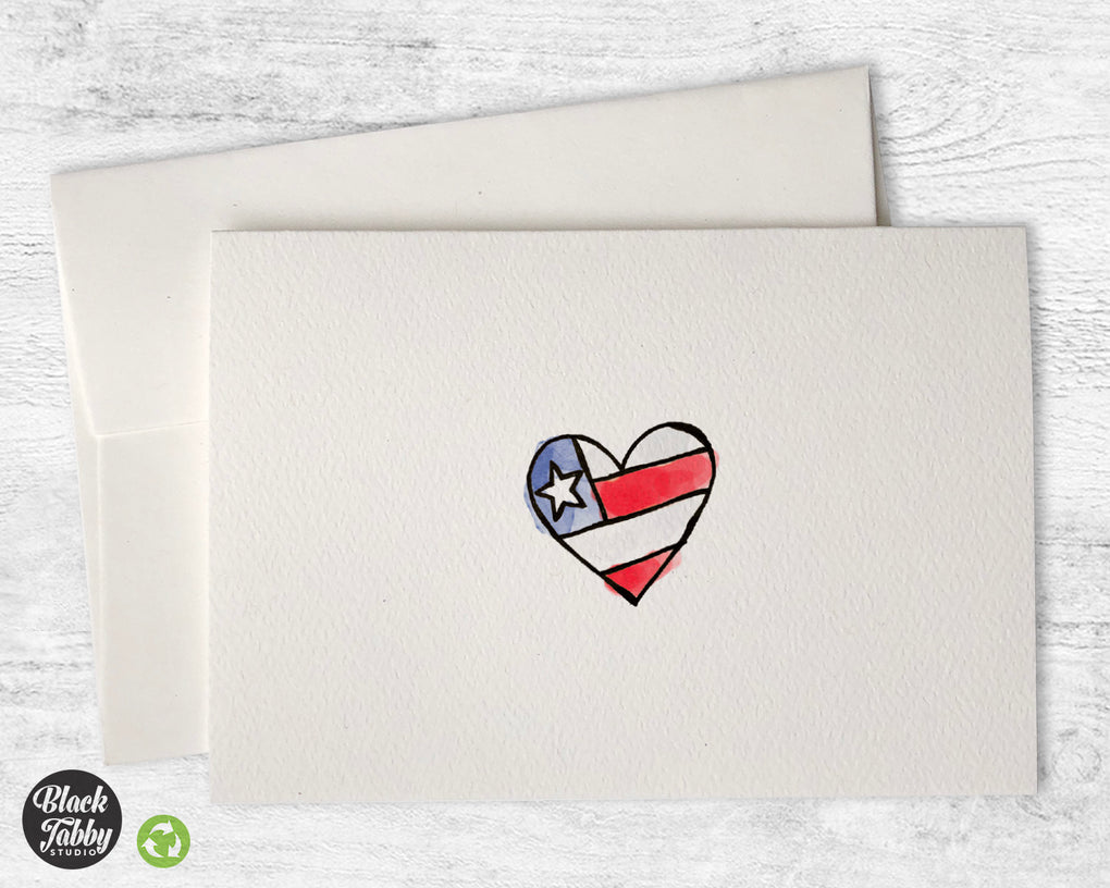 Patriotic Heart - Greeting Cards