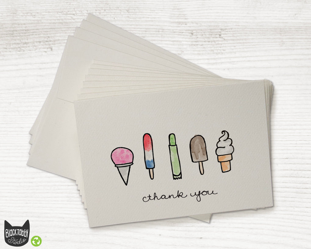 Popsicles and Ice Cream - Thank You Cards