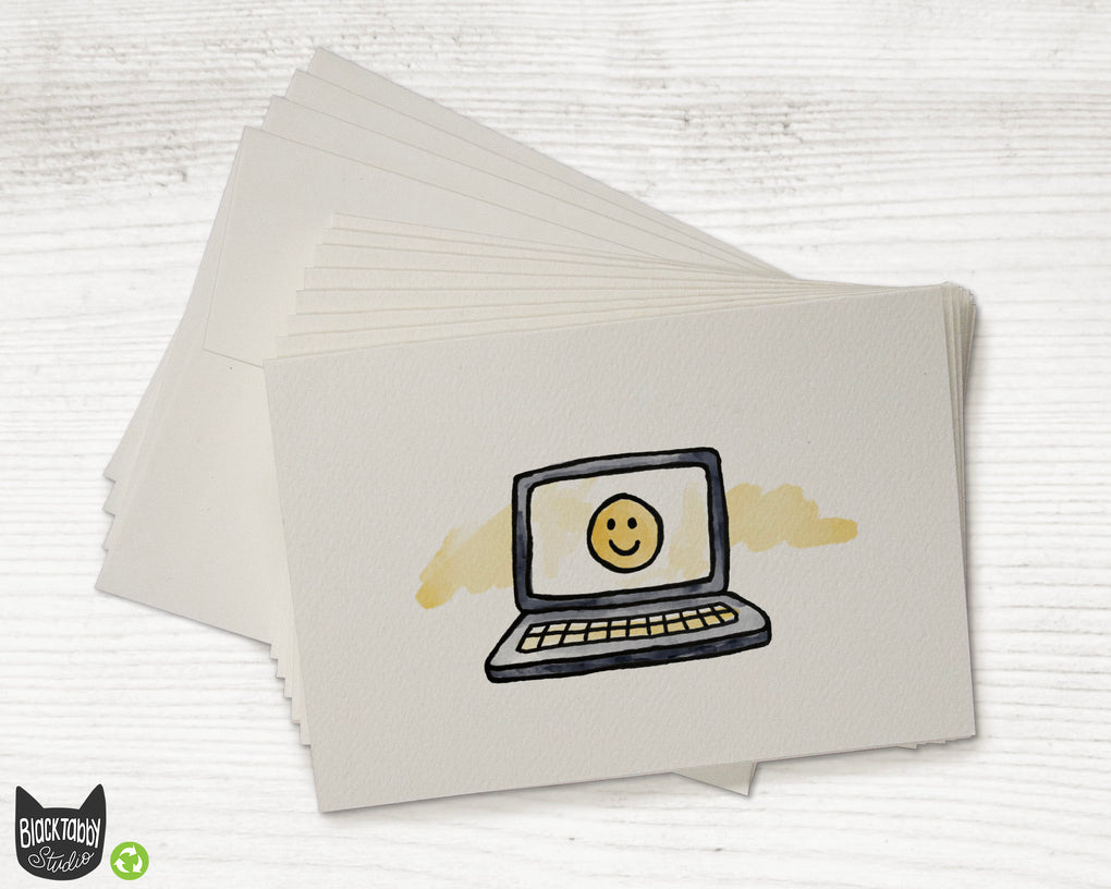 Smiley Face on a Laptop - Greeting Cards