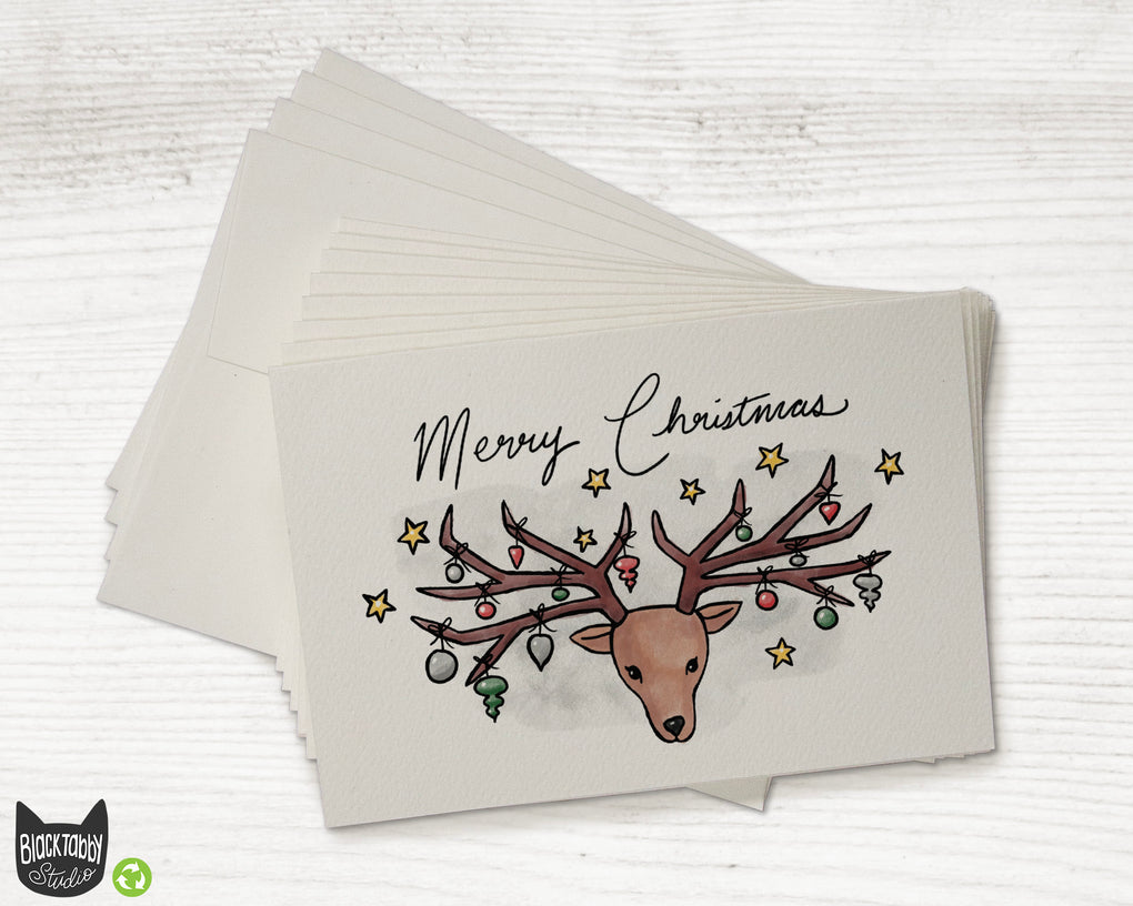 Reindeer with Baubles - Merry Christmas Cards