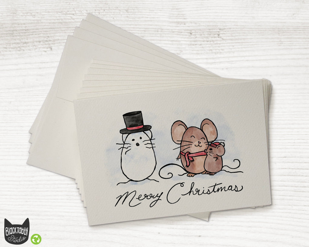 Mice with a Snowman - Merry Christmas Cards