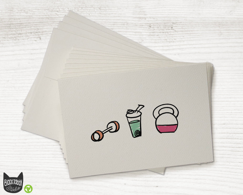 Strong & Healthy Cards with Green Protein Shake - Greeting Cards
