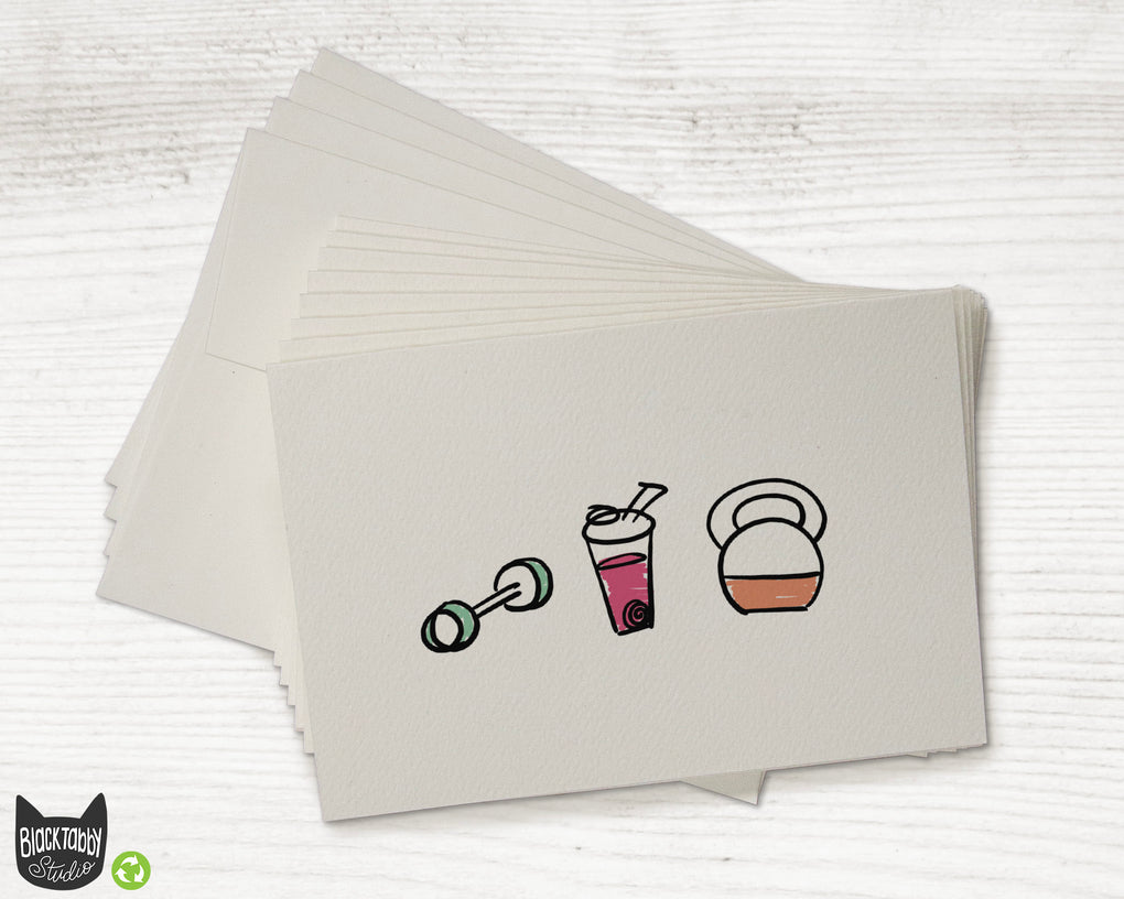 Strong & Healthy Cards with Pink Drink - Greeting Cards