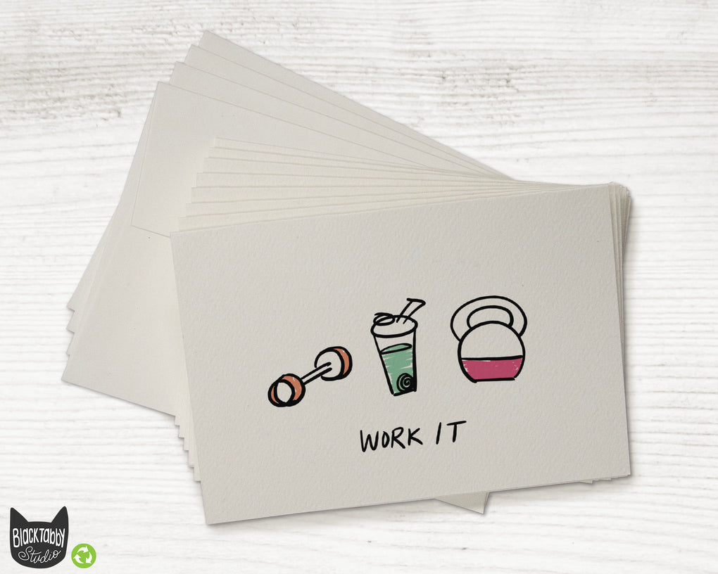 Strong, Healthy, Work it Cards with Green Protein Shake - Greeting Cards