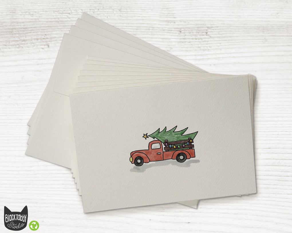 Red Christmas Tree Truck - Set of Blank Christmas Cards