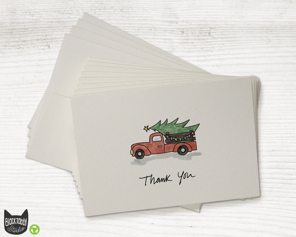 Red Christmas Tree Truck - Set of Thank You Cards
