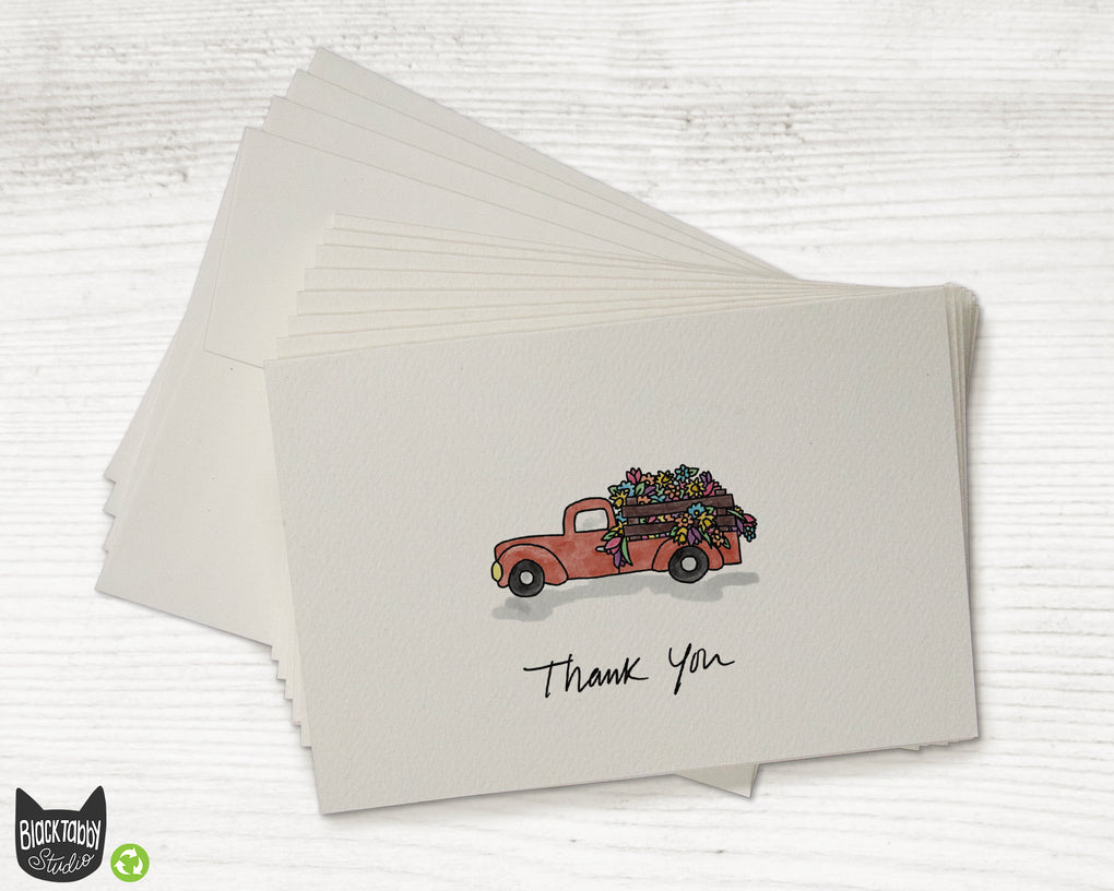 Red Flower Truck - Set of Thank You Cards