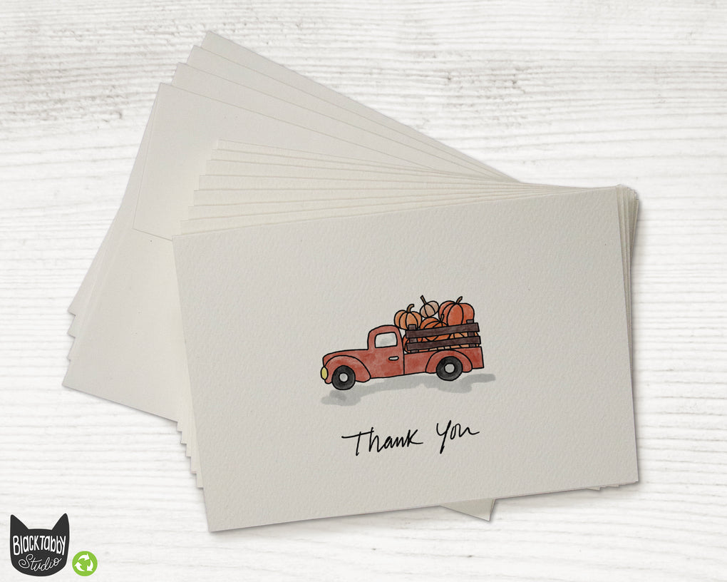 Red Pumpkin Truck - Set of Thank You Cards
