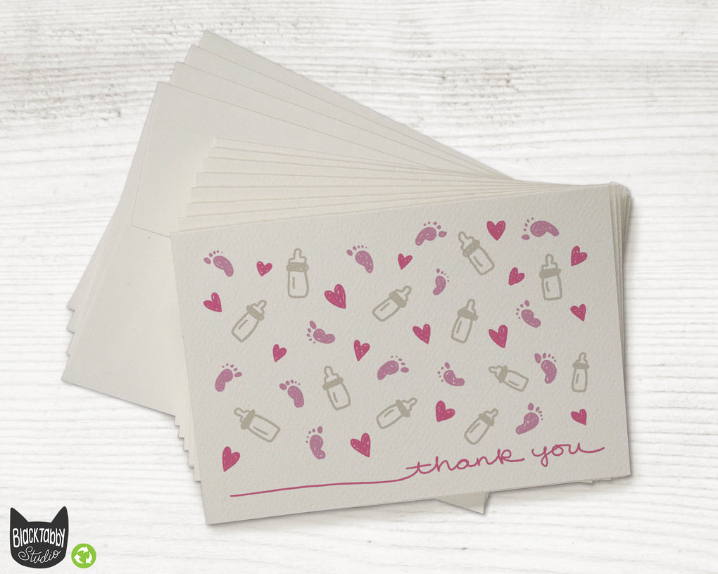 Little Footprints Pink Baby Thank You Cards