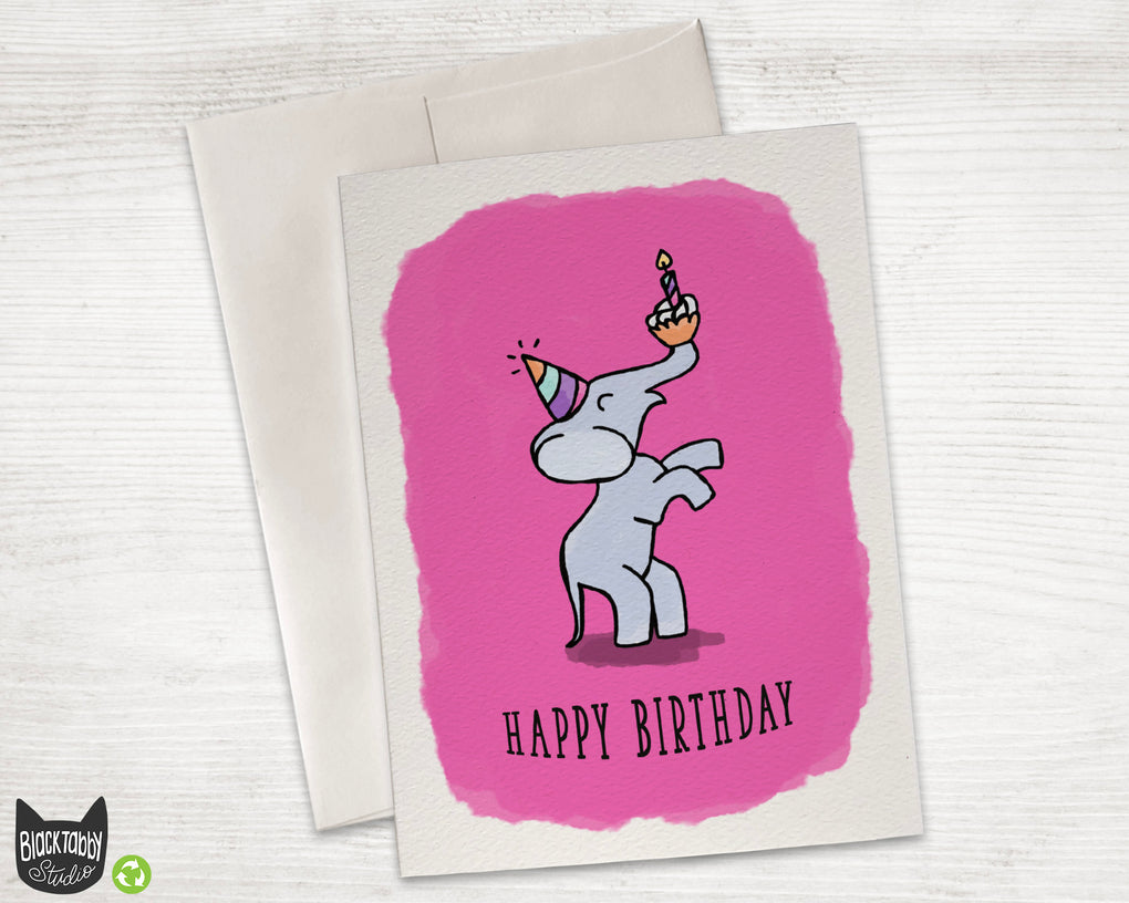 Party Elephant - Happy Birthday Card