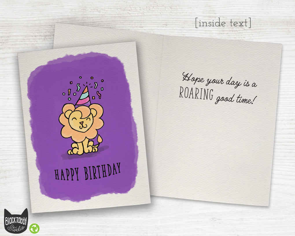 Party Lion - Happy Birthday Card