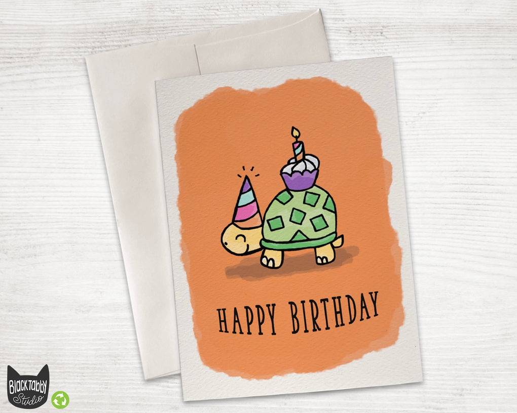 Party Turtle - Happy Birthday Card