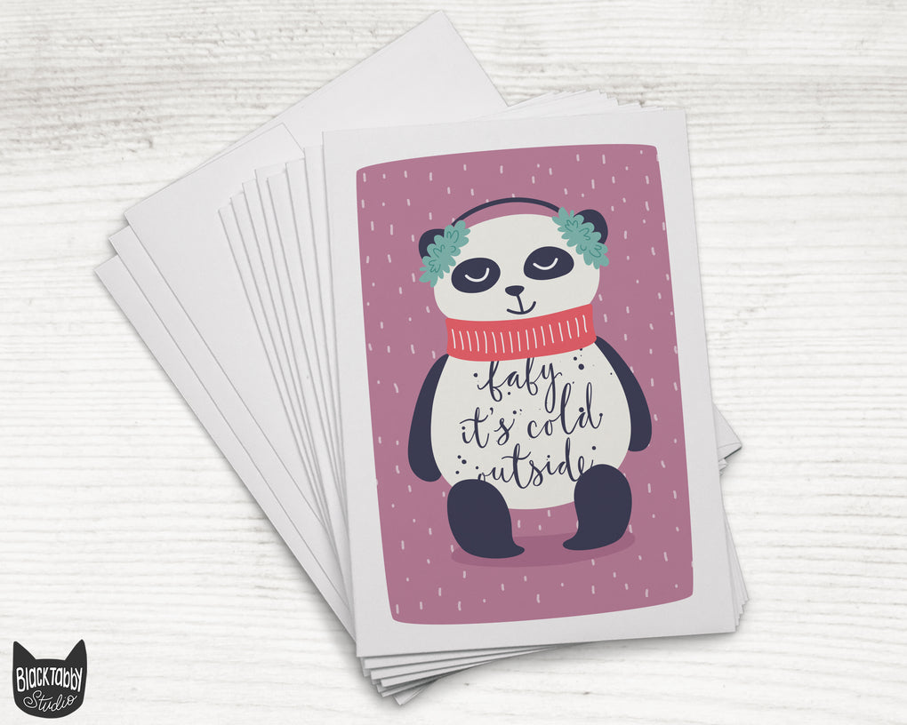 Snuggly Panda - 24 Holiday Cards