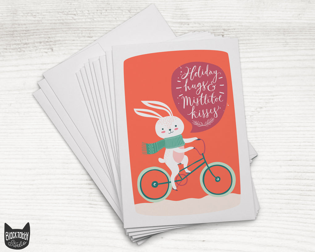 Bike-Riding Bunny - 24 Holiday Cards