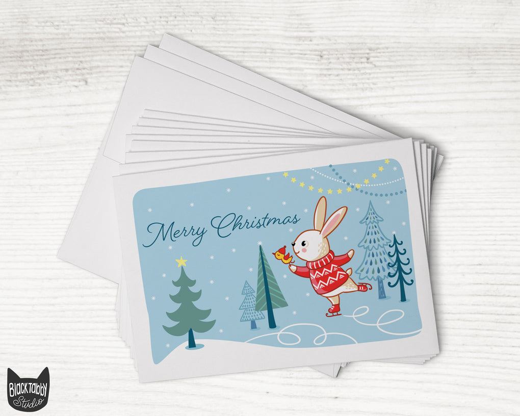 Ice Skating Bunny - Merry Christmas - 24 Holiday Cards