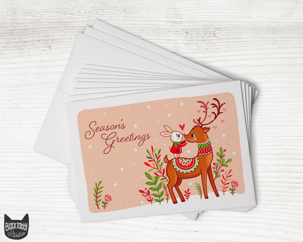 Festive Reindeer and Bunny - Season's Greetings - 24 Holiday Cards