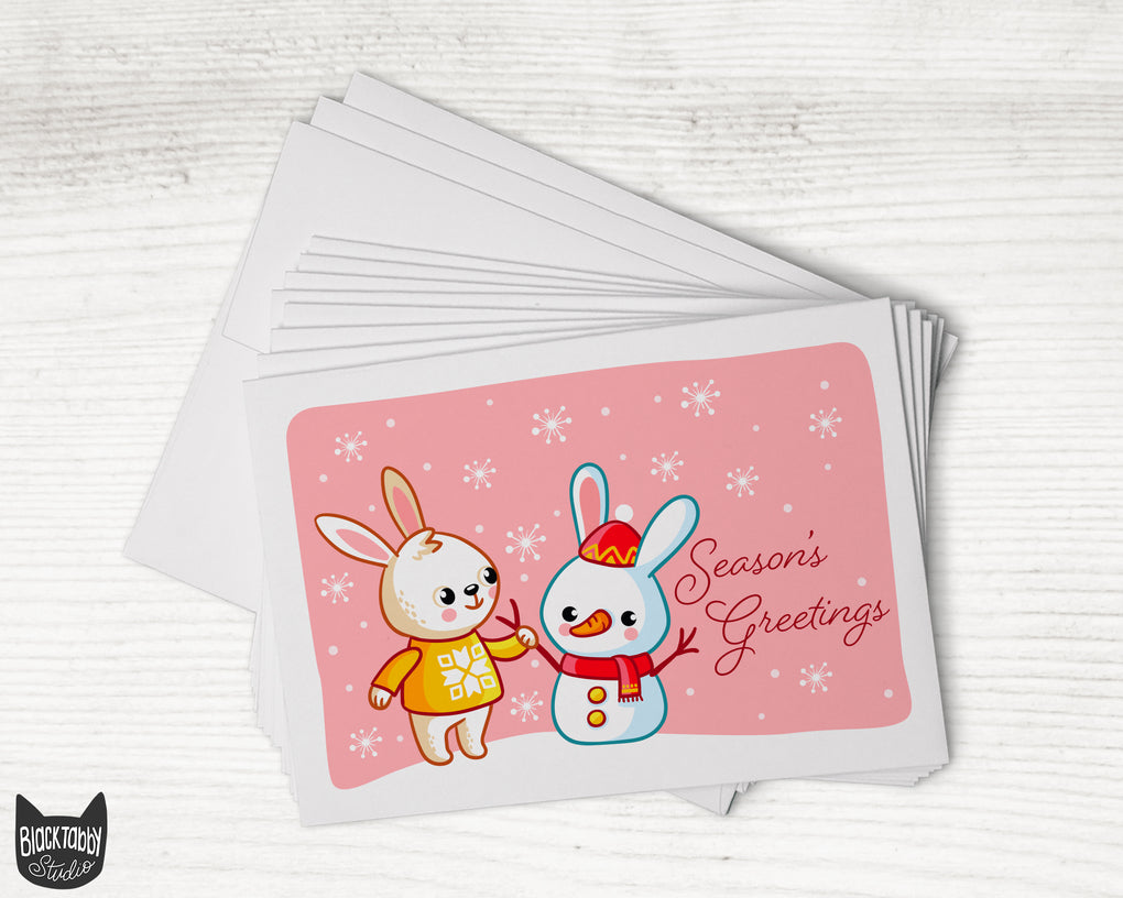 Making a Snowbunny - Season's Greetings - 24 Holiday Cards