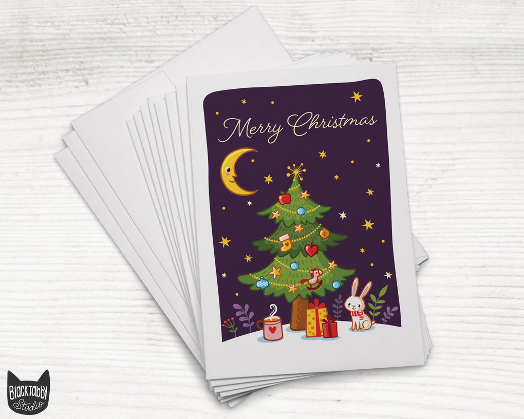Bunny Under a Christmas Tree - Merry Christmas - 24 Holiday Cards