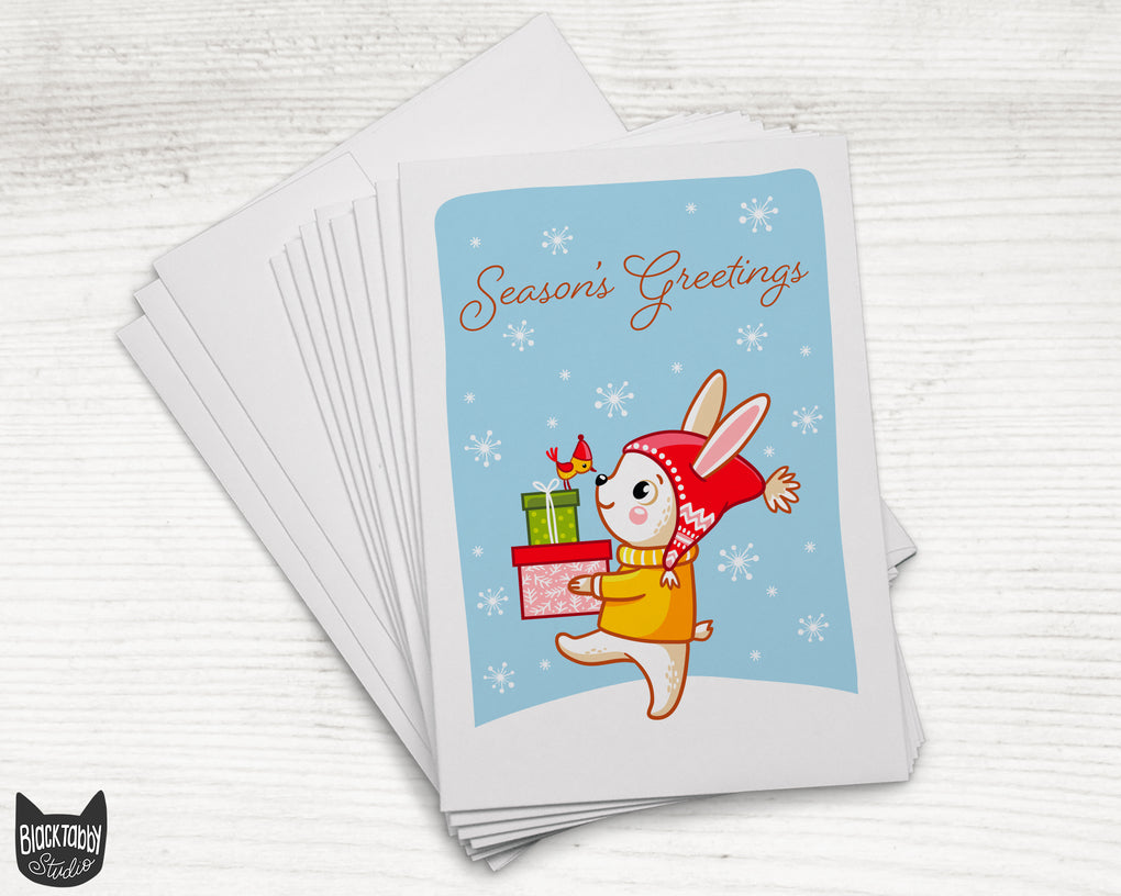 Bunny Carrying Gifts - Season's Greetings