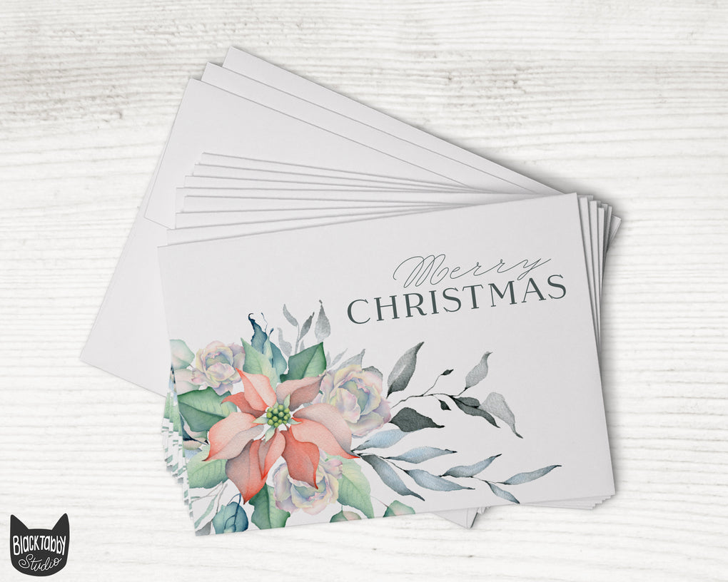 Poinsettia & Rose Floral Winter Christmas Cards - Set of 24 Cards with Envelopes