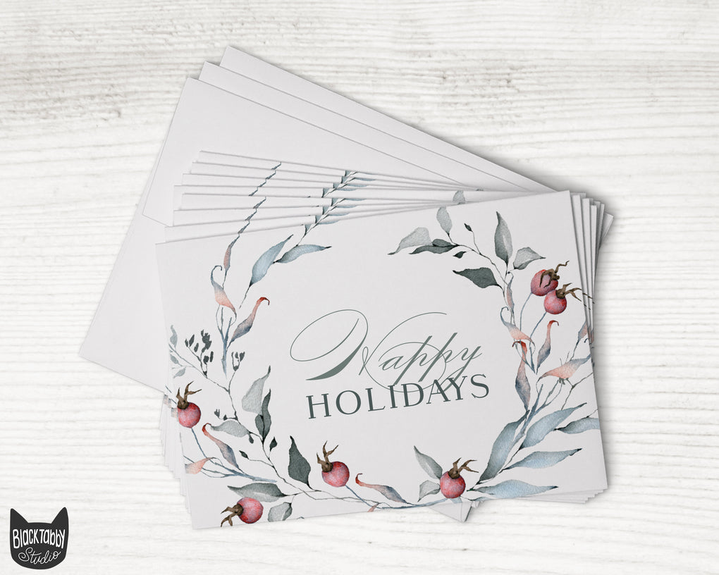 Poinsettia & Rose Floral Winter Holiday Cards - Set of 24 Cards with Envelopes