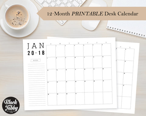 2018 Desk Calendar (12 Months: January-December) - Printable Digital Download