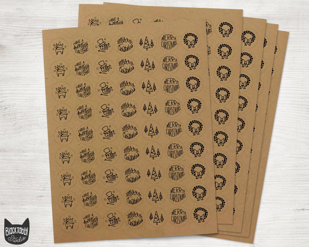 Merry Christmas Sticker Seals - Assorted Kraft Envelope Seals