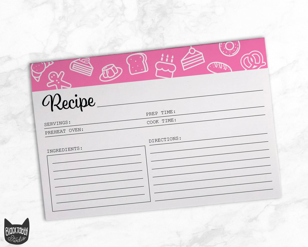 Recipe Cards in Pastry Pink - Set of 52