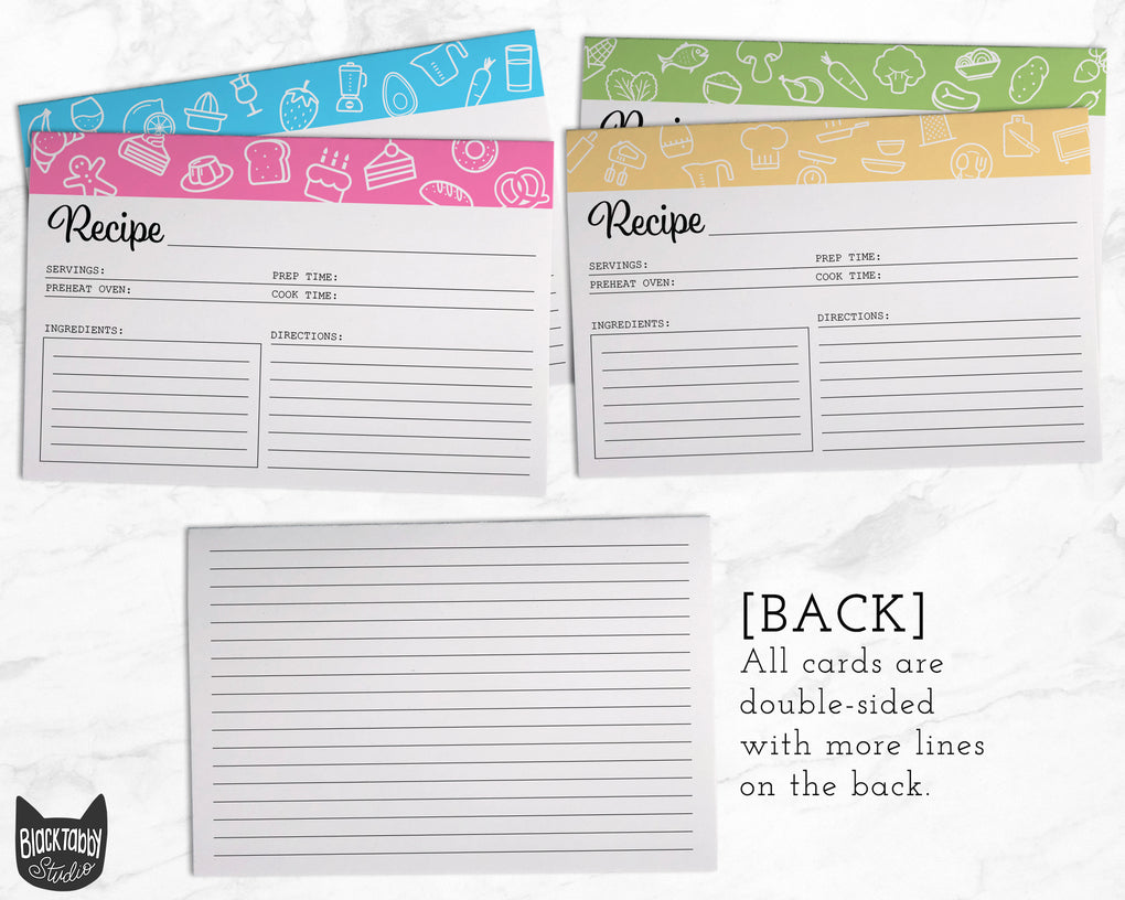 Colorful Recipe Card Bundle - Set of 52