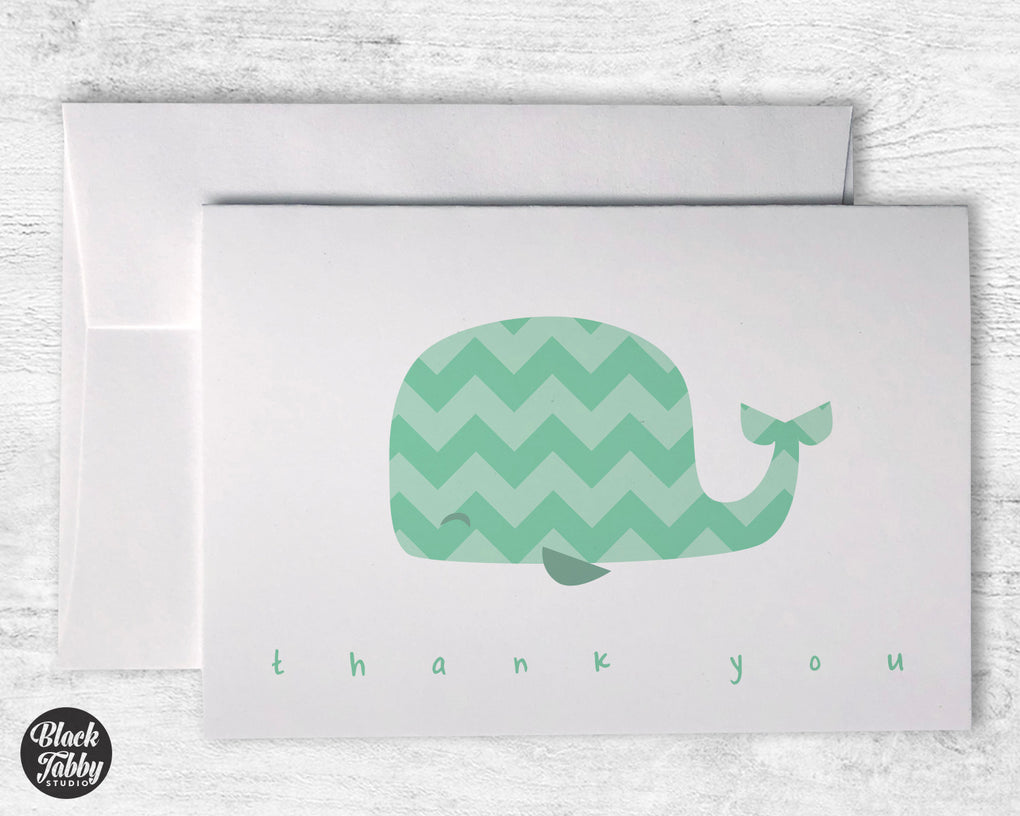 Green Chevron Whale - Thank You Cards