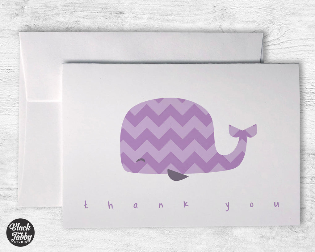 Purple Chevron Whale - Thank You Cards