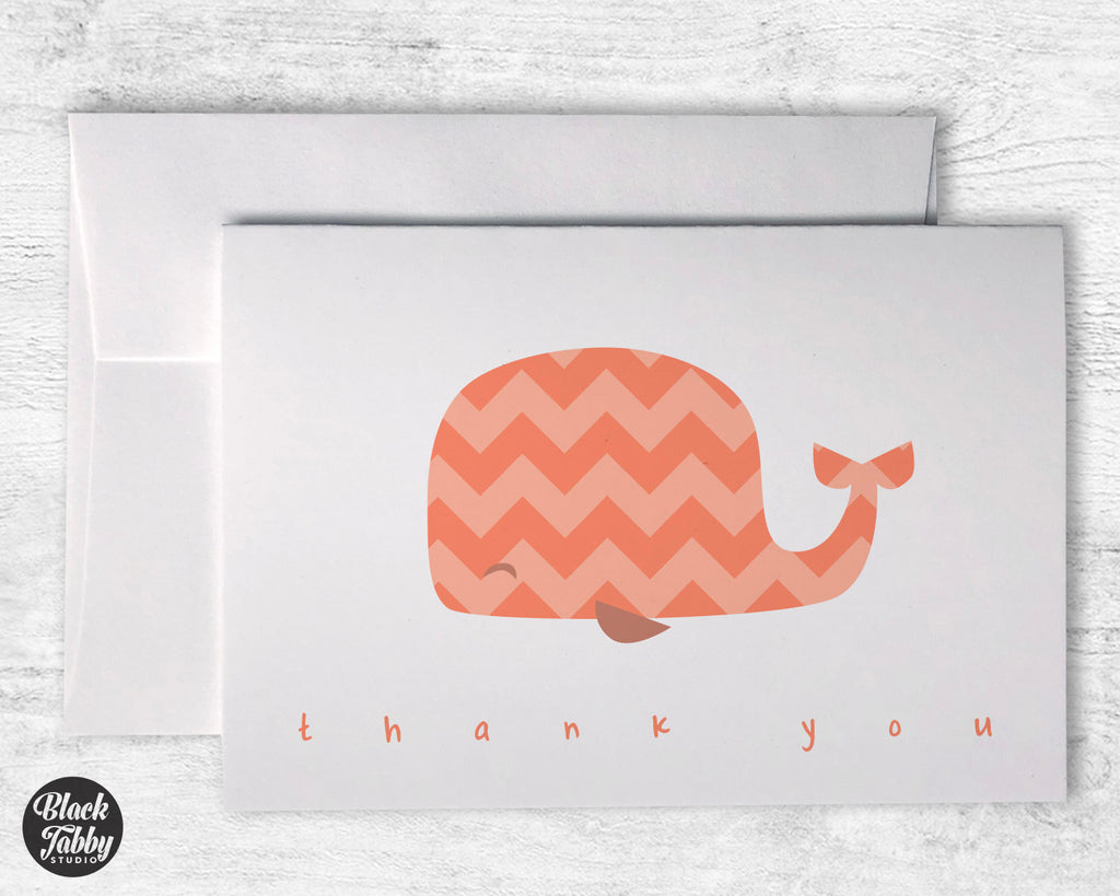 Peach Chevron Whale - Thank You Cards