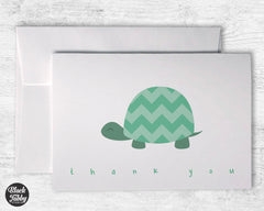 Green Chevron Turtle - Thank You Cards