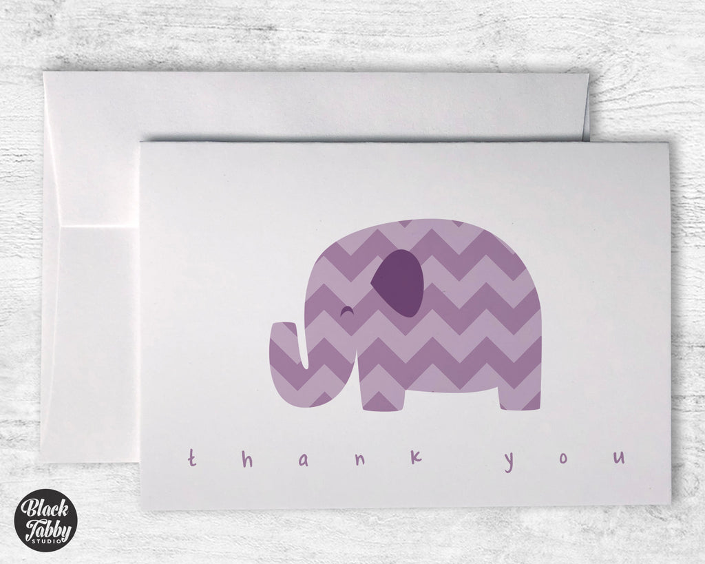 Purple Chevron Elephant - Thank You Cards