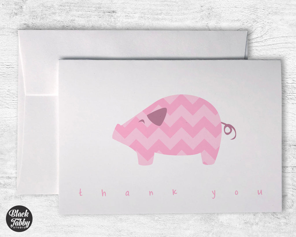 Pink Chevron Pig - Thank You Cards