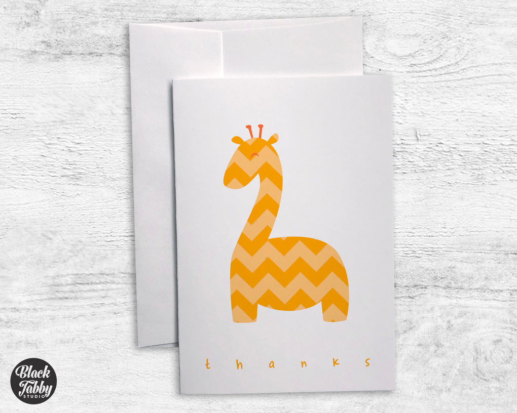 Yellow Chevron Giraffe - Thank You Cards