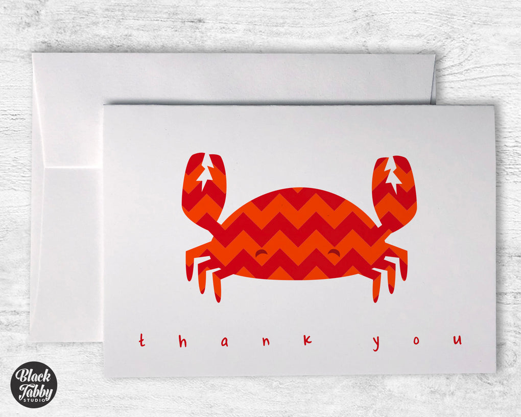 Chevron Red Crab - Thank You Cards