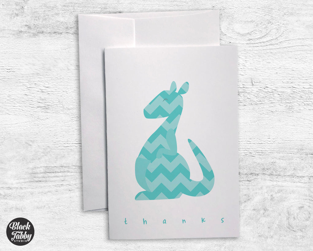 Teal Chevron Kangaroo - Thank You Cards