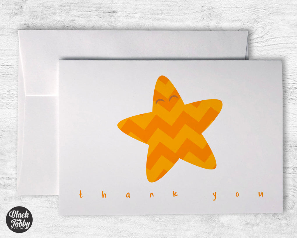 Chevron Orange Starfish - Thank You Cards