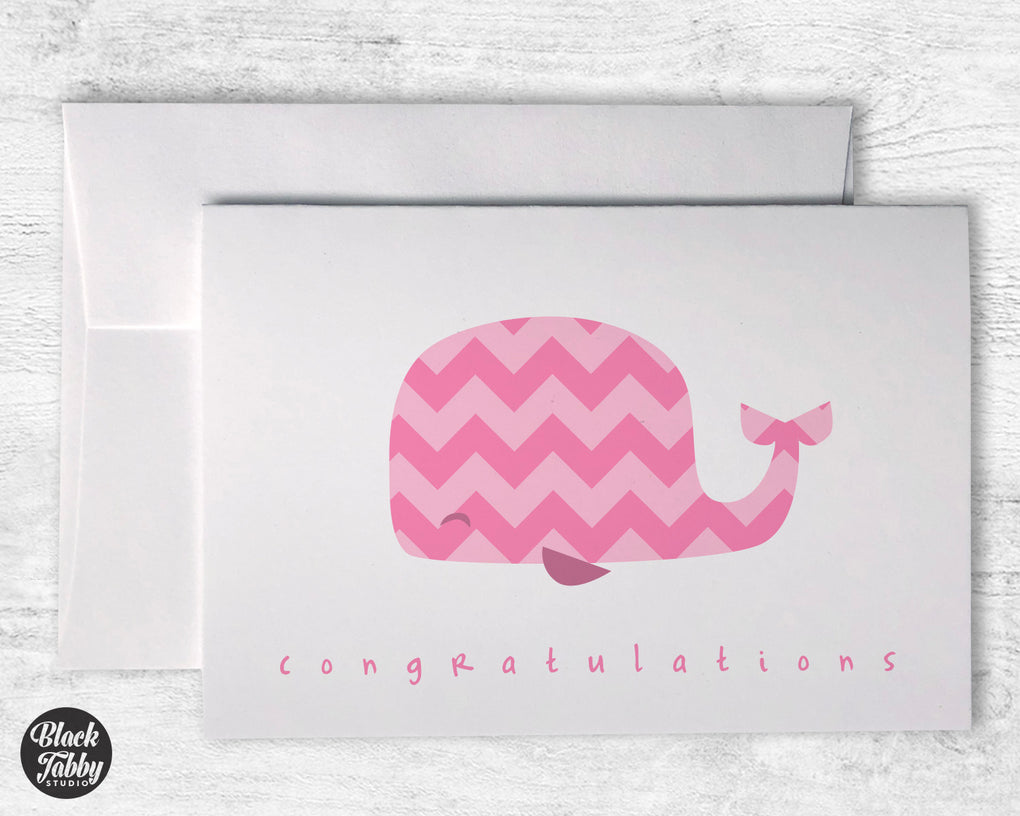 Pink Chevron Whale - Congrats Cards
